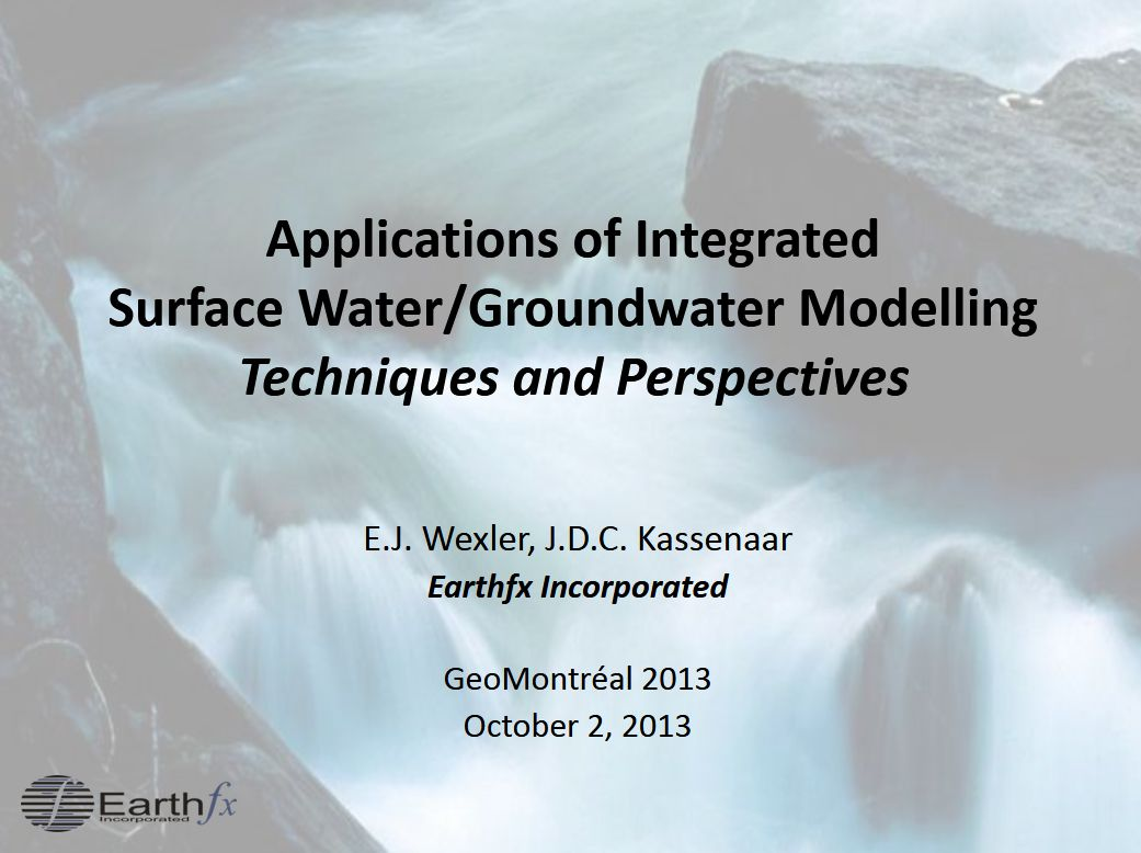 Applications Integrated Surface Water Groundwater Modelling